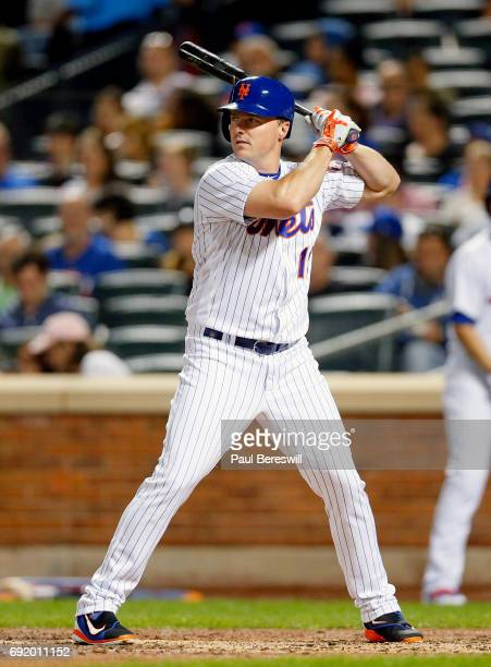Jay Bruce of the New York Mets bats in an MLB baseball game against the Milwaukee Brewers on May 31 2017 at CitiField in the Queens borough of New...