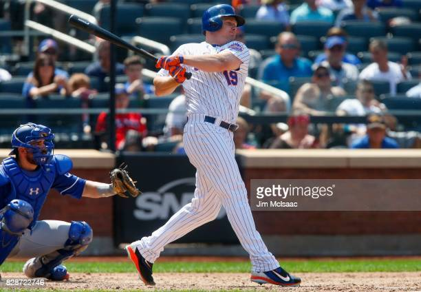 Jay Bruce of the New York Mets bats in the seventh inning against the Texas Rangers at Citi Field on August 9 2017 in the Flushing neighborhood of...
