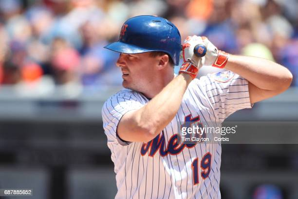 Jay Bruce of the New York Mets batting during the Los Angeles Angeles Vs New York Mets regular season MLB game at Citi Field on May 21 2017 in New...