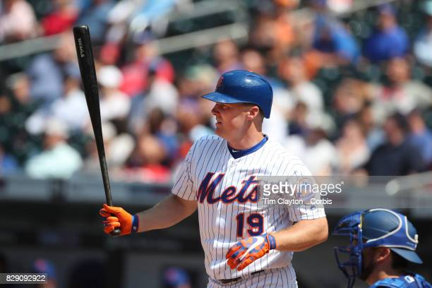Jay Bruce of the New York Mets batting during the Texas Rangers Vs New York Mets regular season MLB game at Citi Field on August 9 2017 in New York...
