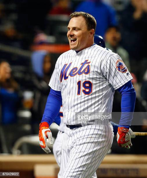 Jay Bruce of the New York Mets celebrates his sixth inning three run home run against the Philadelphia Phillies at Citi Field on April 19 2017 in the...