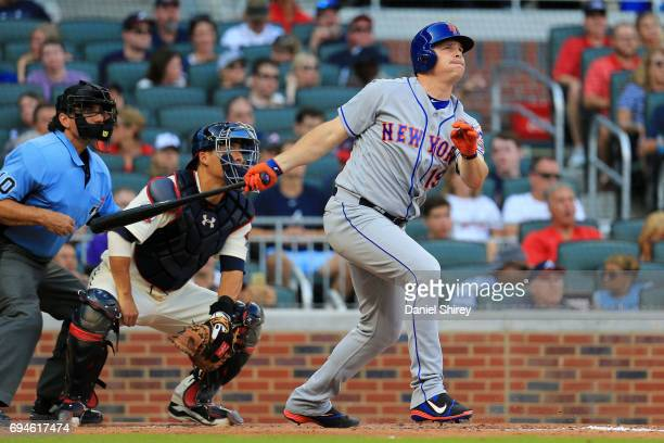 Jay Bruce of the New York Mets hits a three run home run during the fifth inning against the Atlanta Braves at SunTrust Park on June 10 2017 in...