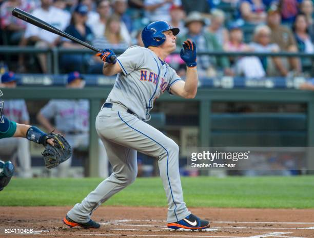 Jay Bruce of the New York Mets hits a tworun home run off of starting pitcher Ariel Miranda of the Seattle Mariners that also scored Asdrubal Cabrera...