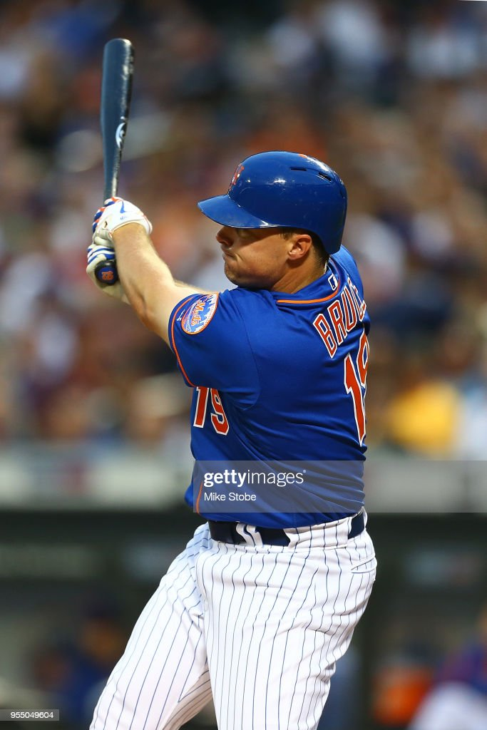 Jay Bruce #19 of the New York Mets in action against the Colorado Rockies at Citi Field on May 4, 2018 in the Flushing neighborhood of the Queens borough of New York City. Colorado Rockies defeated the New York Mets 8-7.