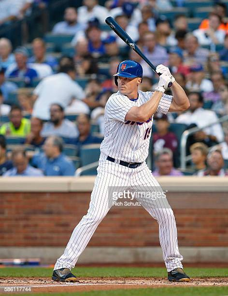 Jay Bruce of the New York Mets in action during a game against the New York Yankees at Citi Field on August 2 2016 in the Flushing neighborhood of...