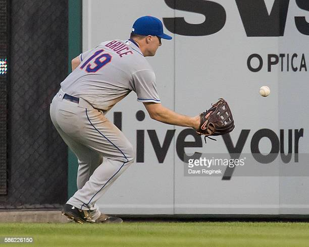 Jay Bruce of the New York Mets plays the ball off the wall in the fourth inning during a MLB game against the Detroit Tigers at Comerica Park on...