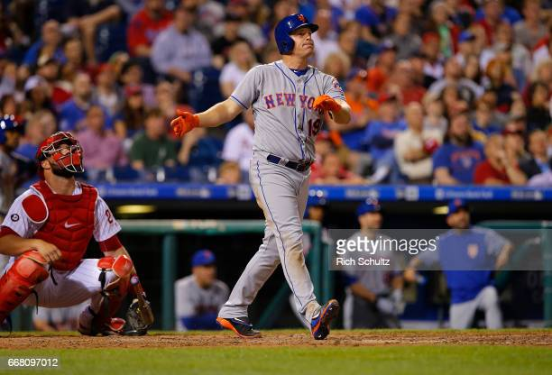 Jay Bruce of the New York Mets watches his two run home run during the eighth inning of a game against the Philadelphia Phillies at Citizens Bank...