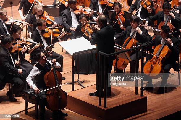 """Jay Campbell performing Lutoslawski's """"Concerto for Cello and Orchestra"""" with the Juilliard Orchestra led by Jeffrey Milarsky at Alice Tully Hall on..."""