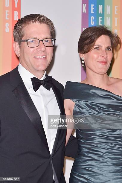 Jay Carney and Claire Shipman pose on the red carpet during the The 36th Kennedy Center Honors gala at the Kennedy Center on December 8, 2013 in...