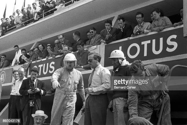Jay Chamberlain Colin Chapman Herbert MacKayFraser 24 Hours of Le Mans Le Mans 23 June 1957 Colin Chapman in the Le Mans pits