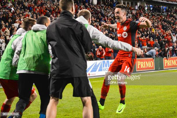 BMO FIELD TORONTO ONTARIO CANADA Jay Chapman celebrates the goal scored with teammates during 2018 MLS Regular Season match between Toronto FC and...