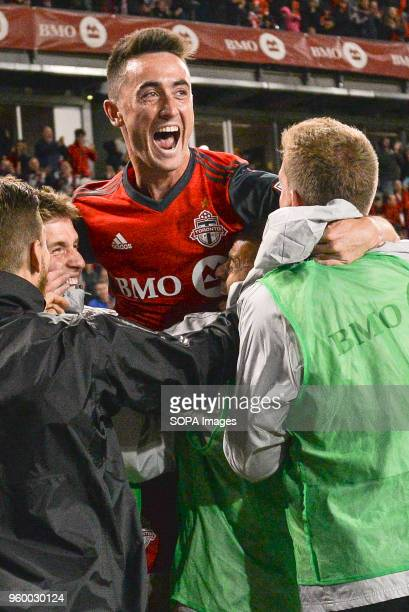 BMO FIELD TORONTO ONTARIO CANADA Jay Chapman seen cheering with his teammates during 2018 MLS Regular Season match between Toronto FC and Orlando...
