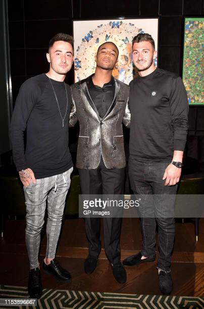 Jay Chapman SHAFT actor Jessie T Usher and Alex Bono attend the SHAFT Toronto tastemakers launch reception held Bisha Hotel on June 4 2019 in Toronto...