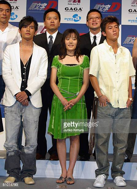 Jay Cho Anne Suzuki Edison Chen directors Alan Mak and Andrew Lau and Anthony Wong attend a press conference to promote a film Initial D on July 1...