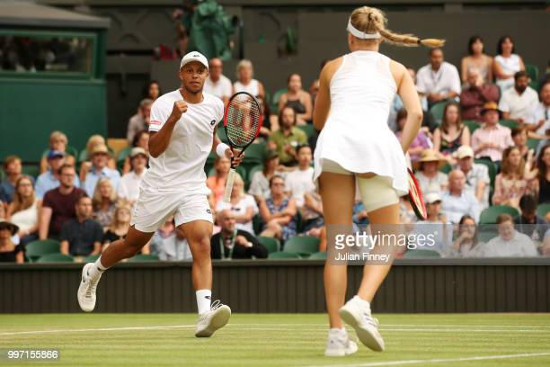 Jay Clarke and Harriet Dart of Great Britain celebrate match point during their Mixed Doubles quarterfinal match against Juan Sebastian Cabal of...