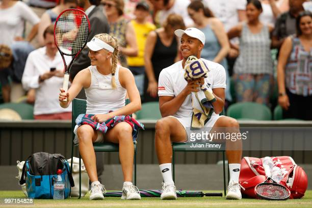 Jay Clarke and Harriet Dart of Great Britain celebrate their victory after their Mixed Doubles quarterfinal match against Juan Sebastian Cabal of...