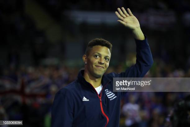 Jay Clarke is presented during day one of the Davis Cup by BNP Paribas World Group single's playoff between Great Britain and Uzbekistan at Emirates...