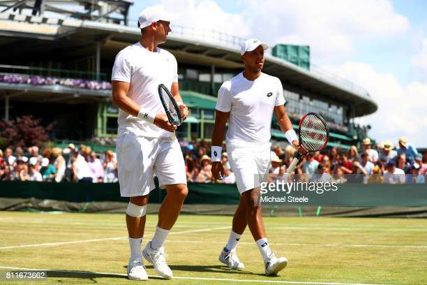Jay Clarke of Great Britain and Marcus Willis of Great Britain in discussion during the Gentlemen's Doubles third round match against Oliver Marach...
