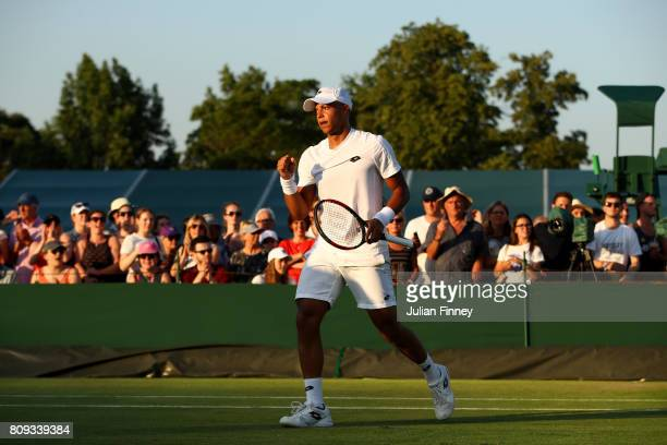 Jay Clarke of Great Britain celebrates during the Gentlemen's Doubles first round match against Jared Donaldson of the United States and Jeevan...