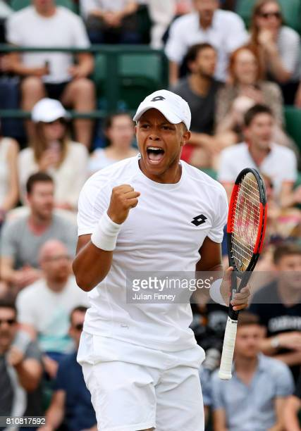 Jay Clarke of Great Britain celebrates during the Gentlemen's Doubles second round match with Marcus Willis of Great Britain against PierreHugues...