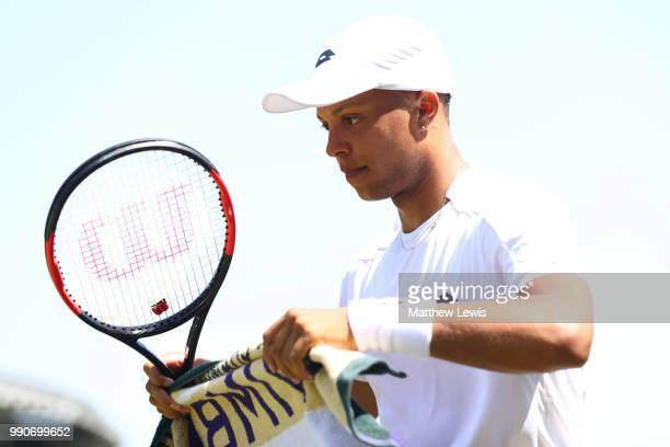 Jay Clarke of Great Britain during his Men's Singles first round match against Ernests Gulbis of Latvia on day two of the Wimbledon Lawn Tennis...