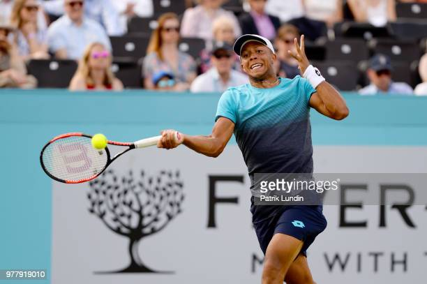 Jay Clarke of Great Britain hits a forehand during the first round match against Sam Querrey of the United States during Day one of the FeverTree...