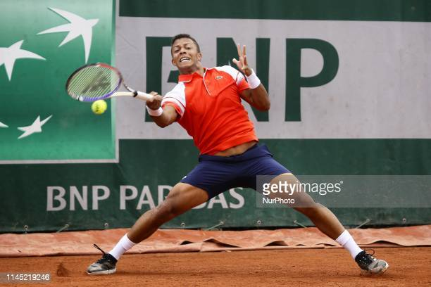 Jay Clarke of Great Britain in action against Alejandro Davidovic Fokina of Spain in the first round of Roland Garros qualifications in Paris France...