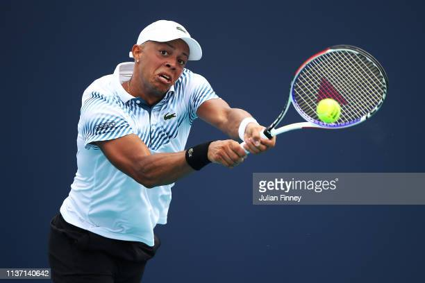 Jay Clarke of Great Britain in action against Prajnesh Gunneswaran of India in qualifying during day three of the Miami Open tennis on March 20 2019...