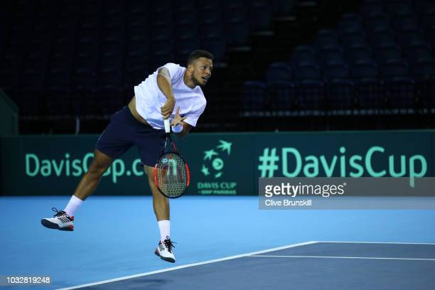 Jay Clarke of Great Britain in action during a training session prior to the Davis Cup match between Great Britain and Uzbekistan at Emirates Arena...