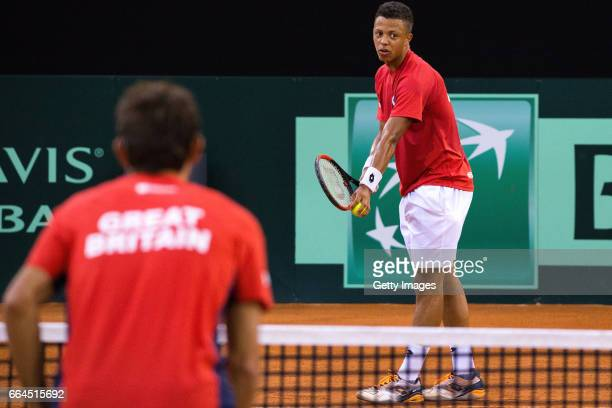 Jay Clarke of Great Britain practices prior to the France v Great Britain Davis Cup World Group QuarterFinal on April 4 2017 in Rouen France