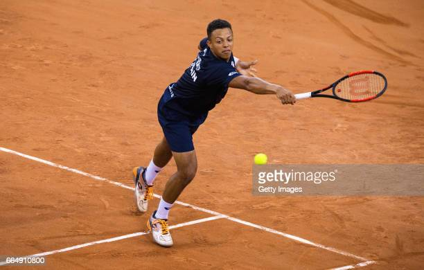Jay Clarke of Great Britain practices prior to the France v Great Britain Davis Cup World Group QuarterFinal on April 5 2017 in Rouen France