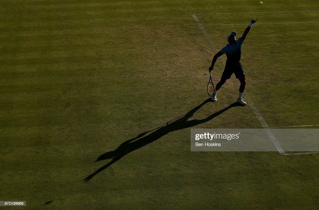 Jay Clarke of Great Britain serves during Day Four of the Nature Valley Open at Nottingham Tennis Centre on June 12, 2018 in Nottingham, United Kingdom.