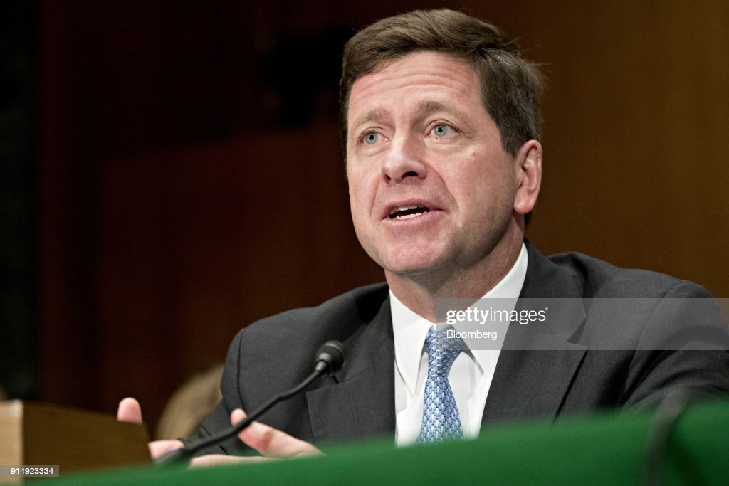 Jay Clayton, chairman of the U.S. Securities and Exchange Commission (SEC), speaks during a Senate Banking, Housing and Urban Development Committee hearing in Washington, D.C., U.S., on Tuesday, Feb. 6, 2018. Cryptocurrency exchanges roiled by the rout in Bitcoin prices may face more turbulence as the two top U.S. market regulators ask Congress to consider federal oversight for the trading platforms. Photographer: Andrew Harrer/Bloomberg via Getty Images