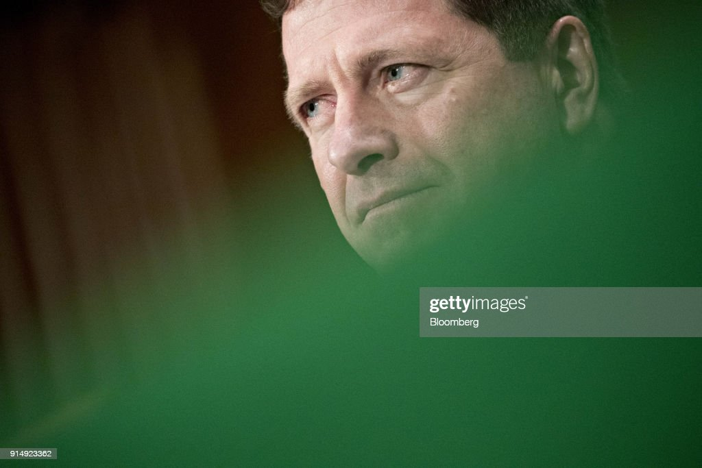 Jay Clayton, chairman of the U.S. Securities and Exchange Commission (SEC), listens during a Senate Banking, Housing and Urban Development Committee hearing in Washington, D.C., U.S., on Tuesday, Feb. 6, 2018. Cryptocurrency exchanges roiled by the rout in Bitcoin prices may face more turbulence as the two top U.S. market regulators ask Congress to consider federal oversight for the trading platforms. Photographer: Andrew Harrer/Bloomberg via Getty Images