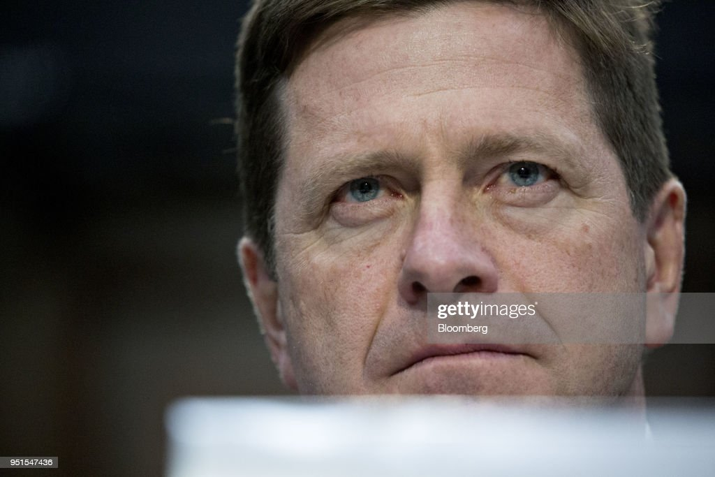 Jay Clayton, chairman of the U.S. Securities and Exchange Commission (SEC), listens during a House Appropriations Subcommittee hearing in Washington D.C., U.S., on Thursday, April 26, 2018. The SEC last week proposed overhauling its conflict-of-interest rules for brokers, a move likely ensuring that Wall Street won't have to comply with much tougher regulations approved at the end of Barack Obamas presidency. Photographer: Andrew Harrer/Bloomberg via Getty Images