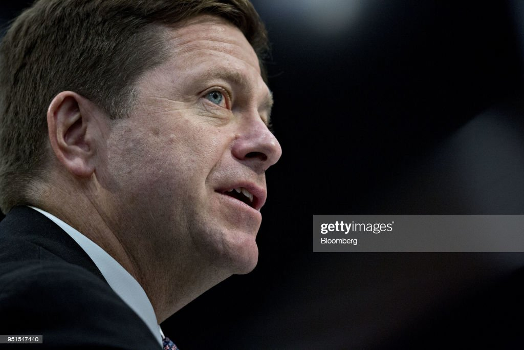 Jay Clayton, chairman of the U.S. Securities and Exchange Commission (SEC), speaks during a House Appropriations Subcommittee hearing in Washington D.C., U.S., on Thursday, April 26, 2018. The SEC last week proposed overhauling its conflict-of-interest rules for brokers, a move likely ensuring that Wall Street won't have to comply with much tougher regulations approved at the end of Barack Obamas presidency. Photographer: Andrew Harrer/Bloomberg via Getty Images