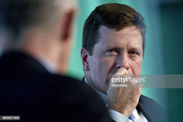 Jay Clayton chairman of the US Securities and Exchange Commission listens to a question during an interview at the Securities Industry And Financial...