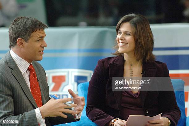 Jay Crawford and Dana Jacobson during a broadcast of ESPN's Cold Pizza from the Super Bowl XL Media Center at the Renaissance Center in Detroit...