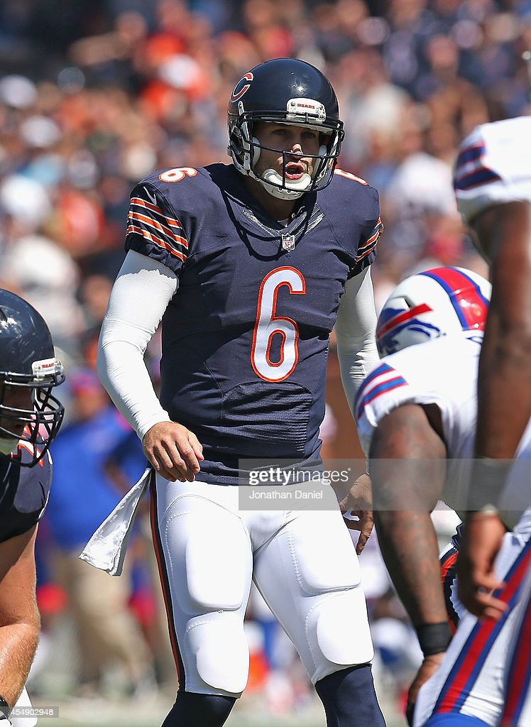 Jay Cutler #6 of the Chicago Bears calls a play against the Buffalo Bills at Soldier Field on September 7, 2014 in Chicago, Illinois. The Bills defeated the Bears 23-20 in overtime.
