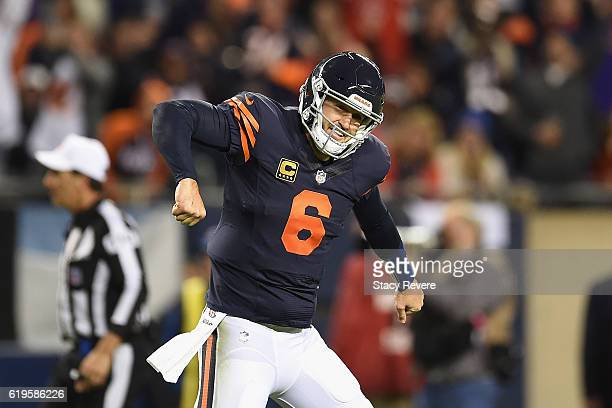 Jay Cutler of the Chicago Bears celebrates after a touchdown by Jordan Howard during the second quarter against the Minnesota Vikings at Soldier...