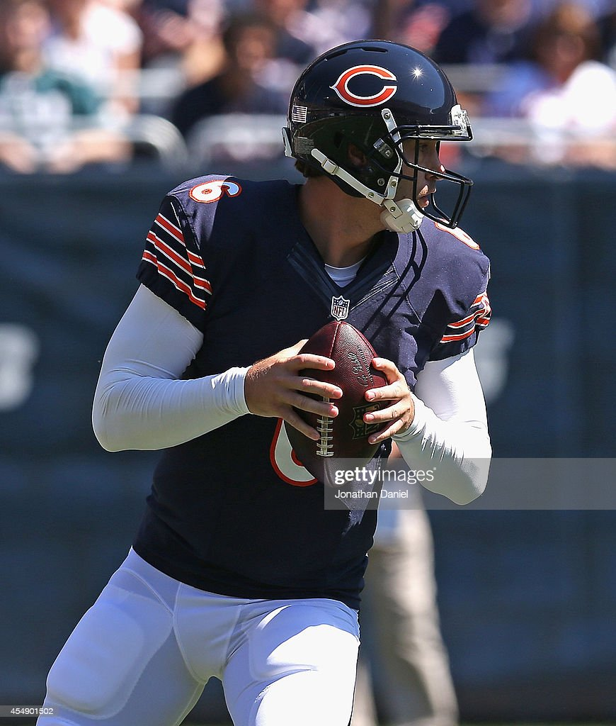 Jay Cutler #6 of the Chicago Bears drops back to pass against the Buffalo Bills at Soldier Field on September 7, 2014 in Chicago, Illinois. The Bills defeated the Bears 23-20 in overtime.
