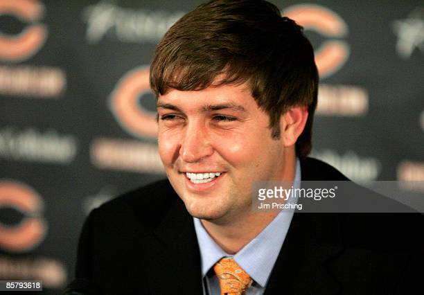 Jay Cutler of the Chicago Bears is all smiles after being announced as their new quarterback during a press conference on April 3, 2009 at Halas Hall...