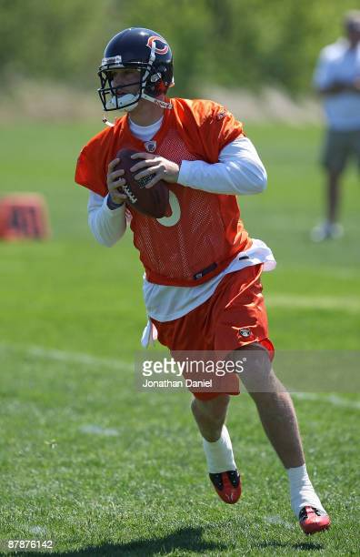 Jay Cutler of the Chicago Bears participates during an organized team activity practice on May 20, 2009 at Halas Hall in Lake Forest, Illinois.