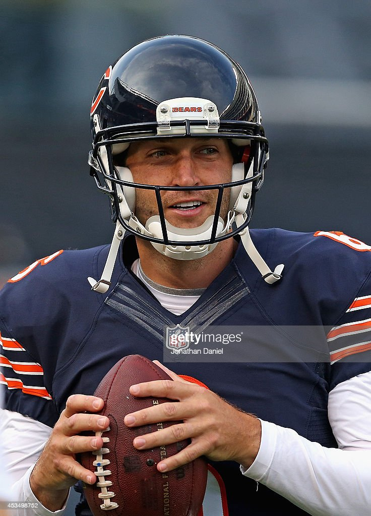 Jay Cutler #6 of the Chicago Bears participates in warm-ups before taking on the Philadelphia Eagles during a preseason game at Soldier Field on August 8, 2014 in Chicago, Illinois.