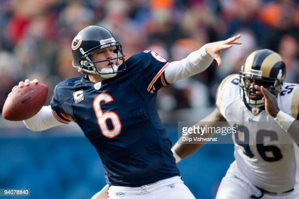 Jay Cutler of the Chicago Bears passes against the St. Louis Rams at Soldier Field on December 6, 2009 in Chicago, Illinois. The Bears beat the Rams...