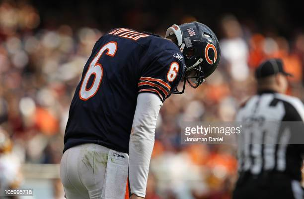 Jay Cutler of the Chicago Bears reacts after throwing an interception against the Washington Redskins at Soldier Field on October 24 2010 in Chicago...
