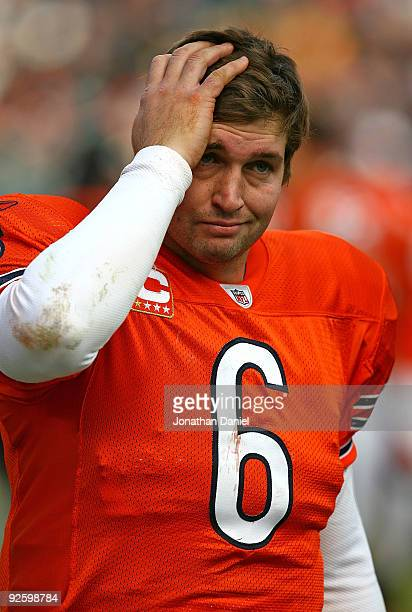 Jay Cutler of the Chicago Bears reacts on the sidelines during a game against the Cleveland Browns at Soldier Field on November 1 2009 in Chicago...