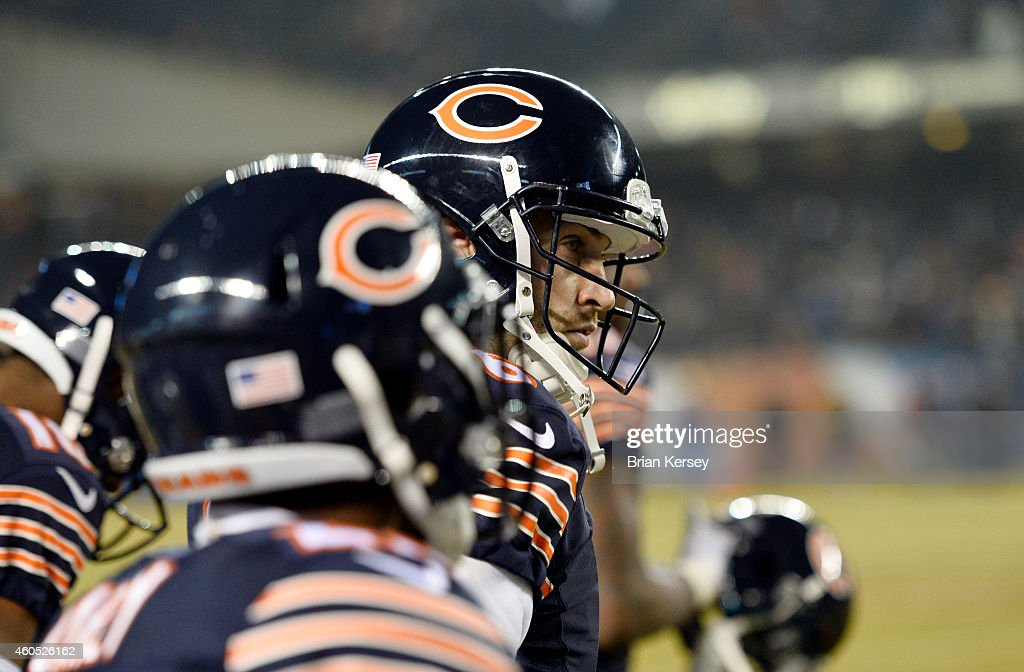 Jay Cutler #6 of the Chicago Bears stands on the sidelines during the fourth quarter against the New Orleans Saints at Soldier Field on December 15, 2014 in Chicago, Illinois. The Saints defeated the Bears 31-15.