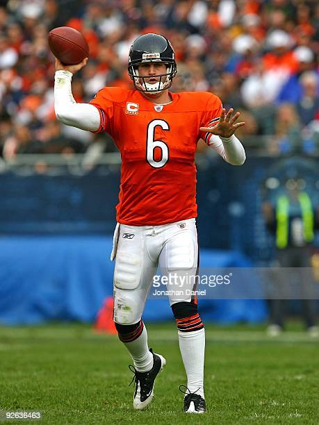 Jay Cutler of the Chicago Bears throws a pass during a game against the Cleveland Browns at Soldier Field on November 1 2009 in Chicago Illinois The...