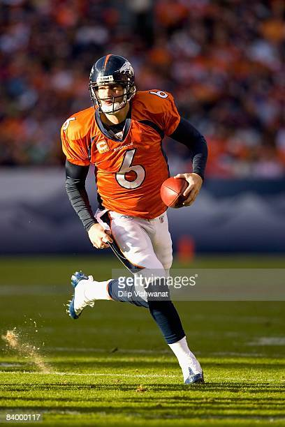 Jay Cutler of the Denver Broncos scrambles against the Kansas City Chiefs at Invesco Field at Mile High on December 7, 2008 in Denver, Colorado. The...
